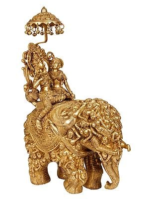 Radha and Krishna Riding on Elephant Made of Lady Figures