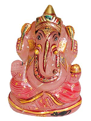 Lord Ganesha (Carved in Rose Quartz)