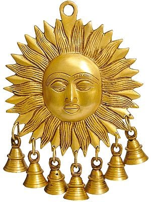 Surya Wall-Hanging: Auspicious Motif of Sun with Bells
