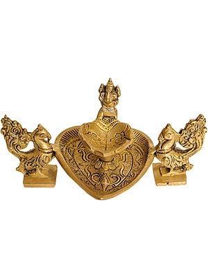 Ganesha Lamp with Peacocks