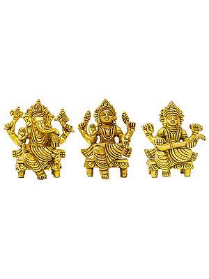 Ganesha Lakshmi and Saraswati (Set of Three Statues)