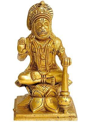 Lord Hanuman Seated on Lotus