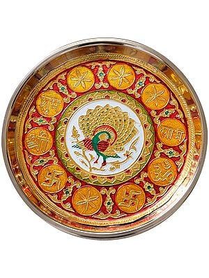 Peacock Puja Thali with Auspicious Symbols Shubh Labh
