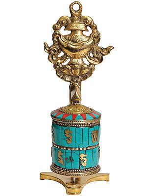 Tibetan Buddhist Prayer Wheel with Vase (Ashtamangala)