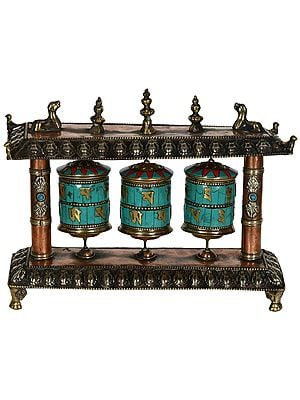 Tibetan Buddhist Triple Prayer Wheels from Nepal