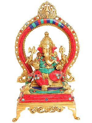 Lord Ganesha Seated on Throne with Aureole