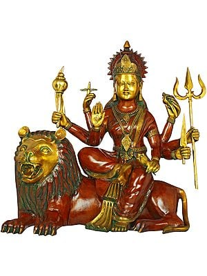 Large Size Goddess Durga Seated On Lion