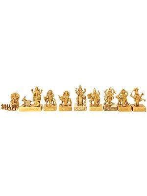 Navagraha - Nine Planetary Gods (From the left Surya, Chandra, Mangal, Budha, Brihaspati, Shukra, Shani, Rahu and Ketu)