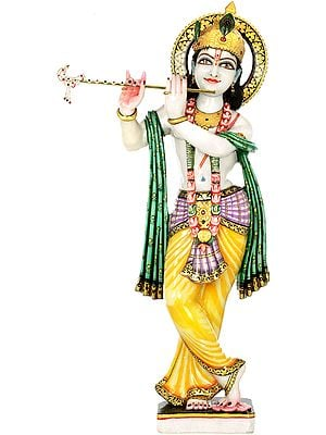 Large Size Lord Krishna Playing on Flute
