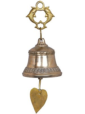 Twin Fishes Tibetan Buddhist Hanging Bell with Leaf