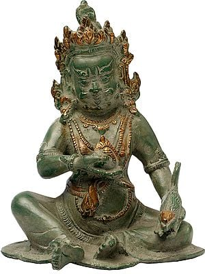 Tibetan Buddhist Kubera with Jewel and Nakula (Mongoose)