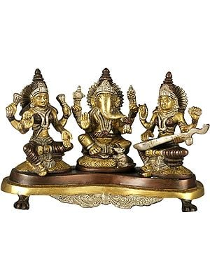 Lakshmi Ganesha and Saraswati