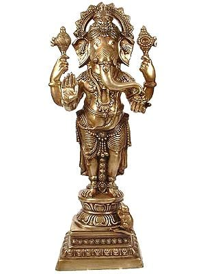 Standing Ganesha, Stately And Resplendent