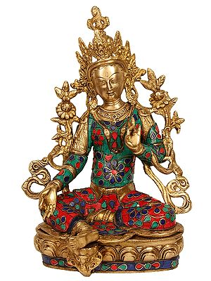 The Resplendent Green Tara, Lotuses Blossoming All Around Her (Richly Inlaid)