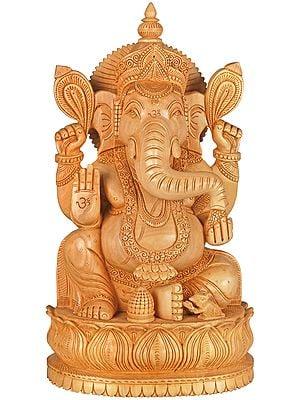 Bhagawan Ganesha Seated on Lotus Chowki