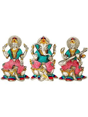 Ganesha Lakshmi Saraswati Brass Statue (Set of 3) With Inlay Work