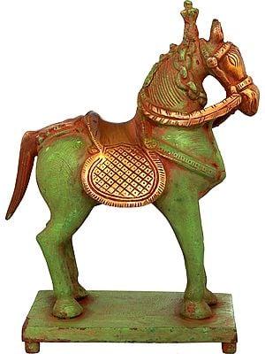Saddled Horse on Pedestal