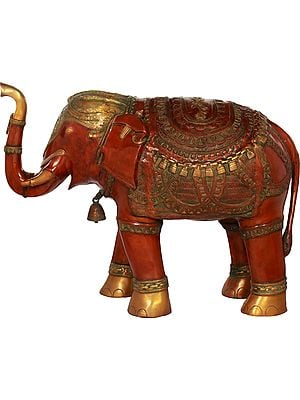 Superbly Decorated Elephant with Upraised Trunk - Large Size
