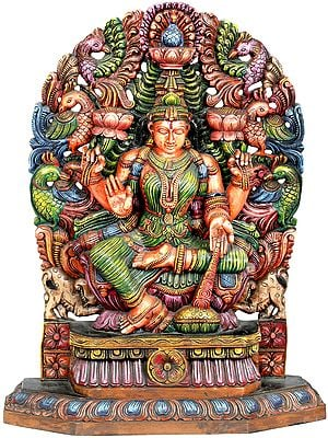 Lakshmi the Goddess Who Gives Money With Aureole Made of Peacocks