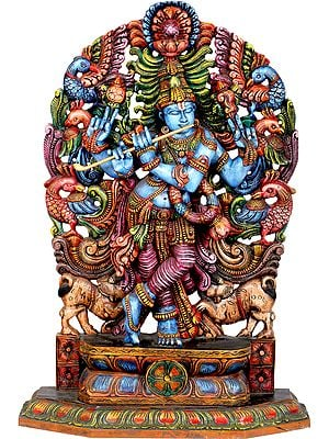 Large Size Cosmic Krishna With Aureole Made of Peacocks