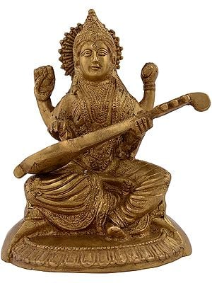 Goddess Saraswati Playing her Veena