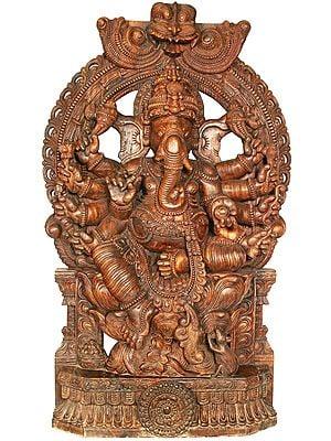 Large Eight Armed Ganesha With Large Kirtimukha Atop