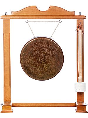 Tibetan Buddhist Monastery Gong with Conch and Auspicious Mantras