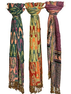 Lot of Three Reversible Scarves with Zigzag Weave