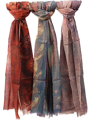 Lot of Three Digital-Printed Shawls