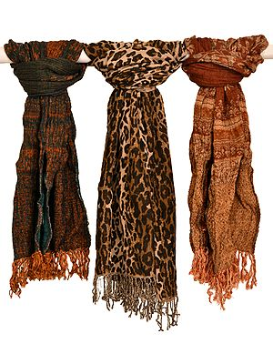 Crushed Scarves with Printed Stole (Lot of Three)