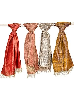 Lot of Four Zari-Brocaded Scarves from Banaras with Woven Paisleys