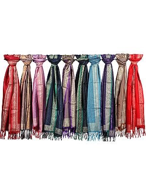 Lot of Ten Banarasi Tanchoi Scarves