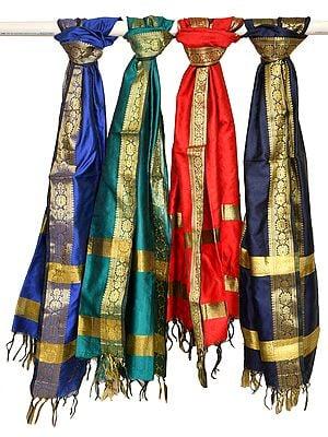 Lot of Four Banarasi Dupattas with Brocade Weave