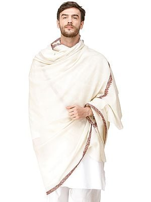 Men's Plain Shawl from Amritsar with Needle Hand-Embroidered Border