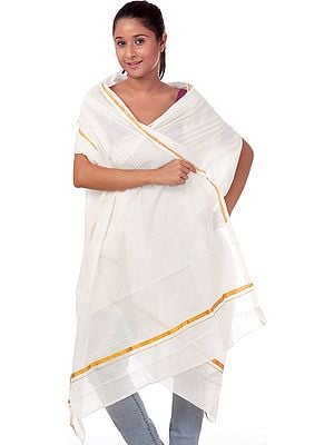 White Veshti Shawl from Kerala with Zari Border
