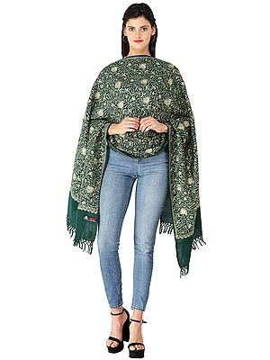 Stole from Amritsar with All-Over Golden Wire Embroidery and Sequins