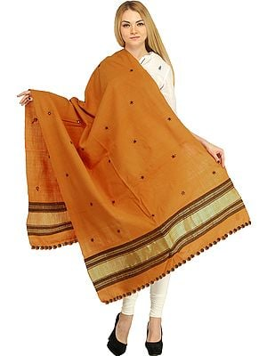 Stole from Kutch with Embroidered Mirrors and Golden Border