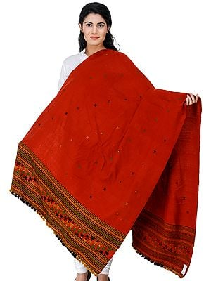 Shawl from Kutch with Embroidered Border and Mirrors