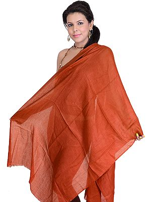 Plain Reversible Pure Pashmina Stole as an Imitation of Shahtush, Fine Enough to Pass Through a Ring
