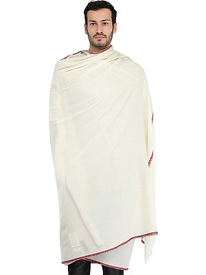 Men's Plain Shawl from Amritsar with Sozni Hand-Embroidery on Border