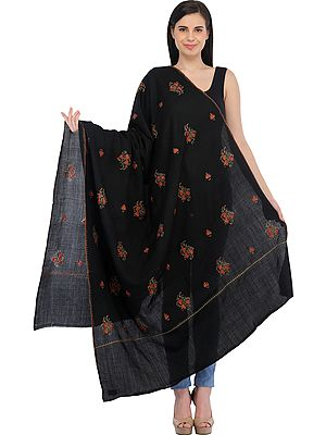 Tusha Shawl from Kashmir with Sozni Hand-Embroidered Maple Leaves