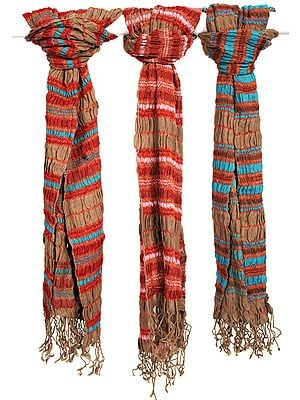 Lot of Three Jamawar Scarf with Woven Stripes