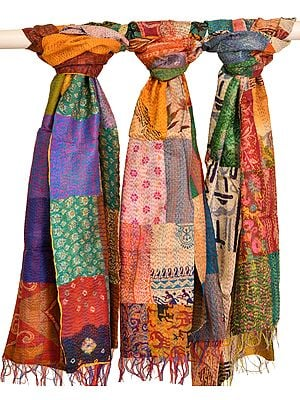 Lot of Three Patchwork Reversible Scarves from Kolkata with Kantha Stitch Embroidery All-Over