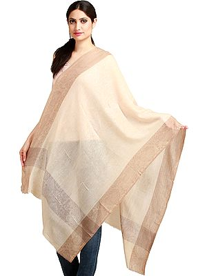 Mellow-Buff Semi Cashmere Stole from Amritsar with Self-Weave