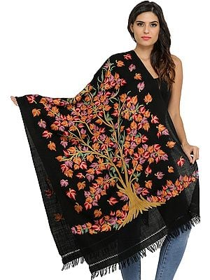 Jet-Black Kashmiri Ari Stole with Hand-Embroidered Tree of Life