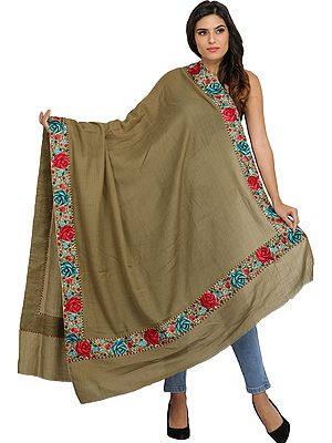 Plain Shawl from Amritsar with Parsi Floral Embroidered Patch Border