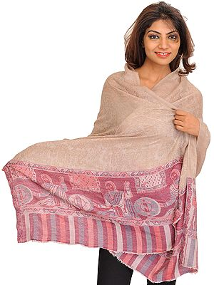 Smoke-Gray Semi Cashmere Kani Stole with Self-Weave