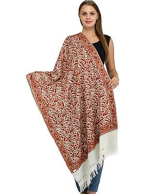 Kashmiri Stole with Ari Hand-Embroidered Paisleys All-Over