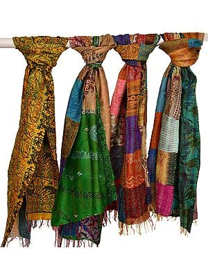 Lot of Four Printed Patchwork Scarves from Kolkata with Kantha Straight Stitch