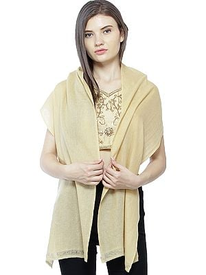 Plain Pure Pashmina Scarf from Nepal with All-Over Weave